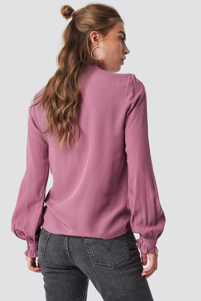 Frill Polo Blouse Old Rose