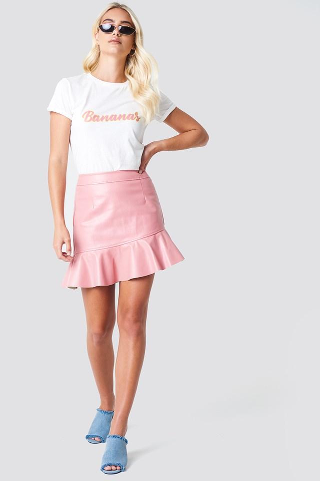 Frill Pu Skirt Pink