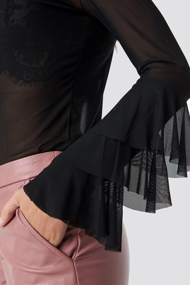Frill Sleeve Mesh Top Black