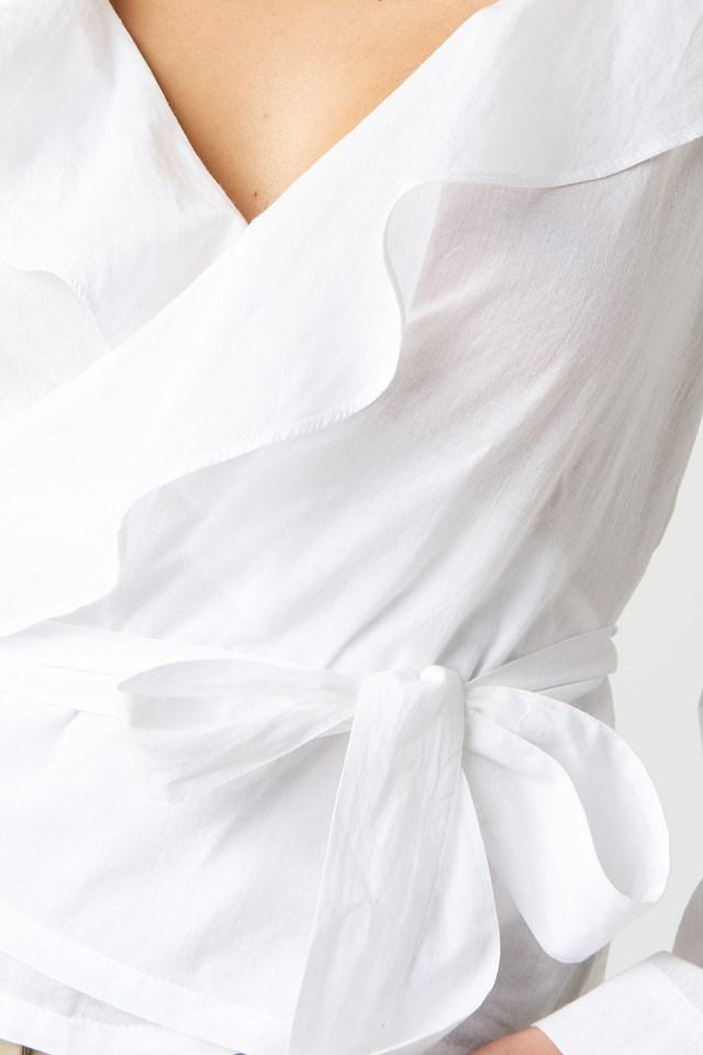 Frill Wrap Blouse White