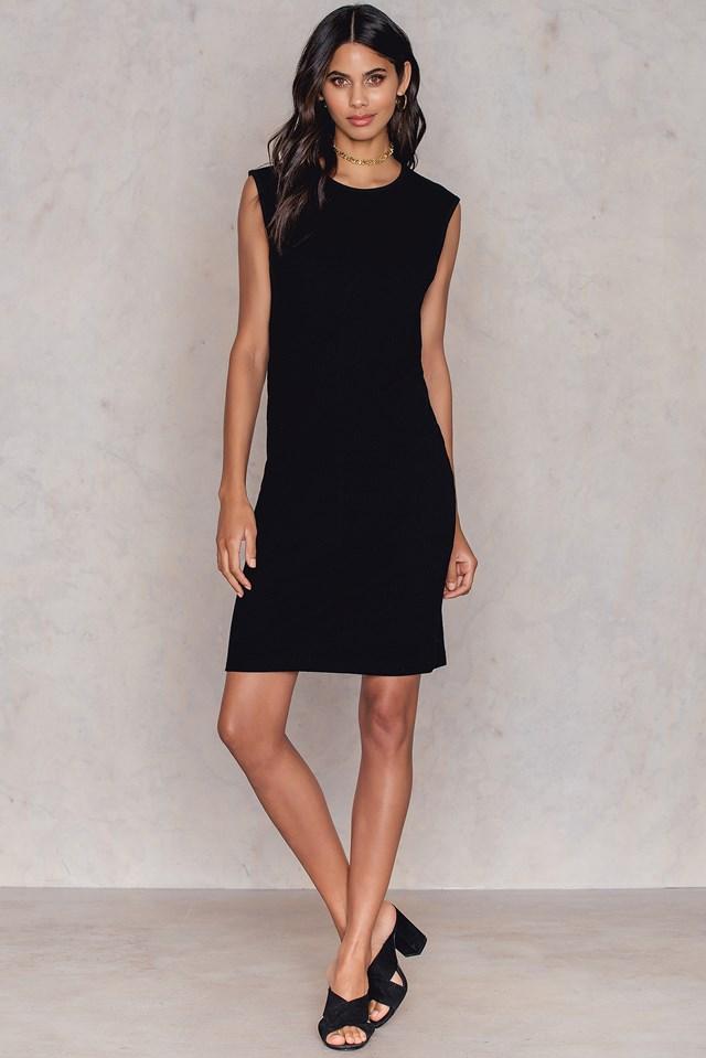 Geena rib dress Black