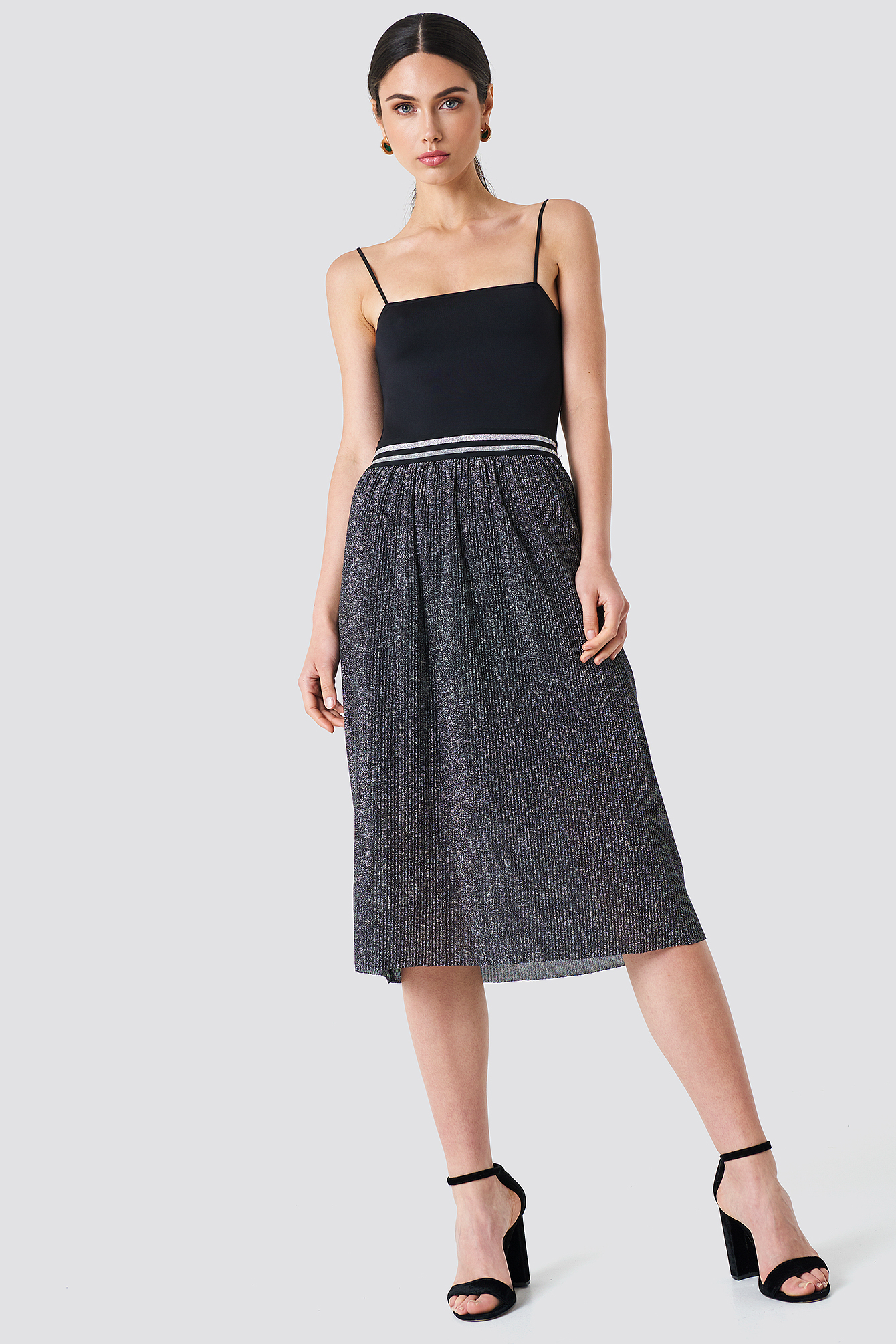 rut&circle -  Glitter Pleat Skirt - Grey,Silver