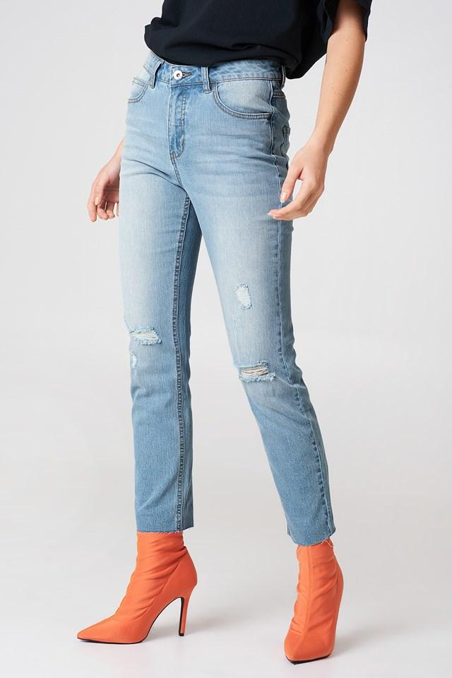 Hanne Girlfriend Jeans Blue Wash