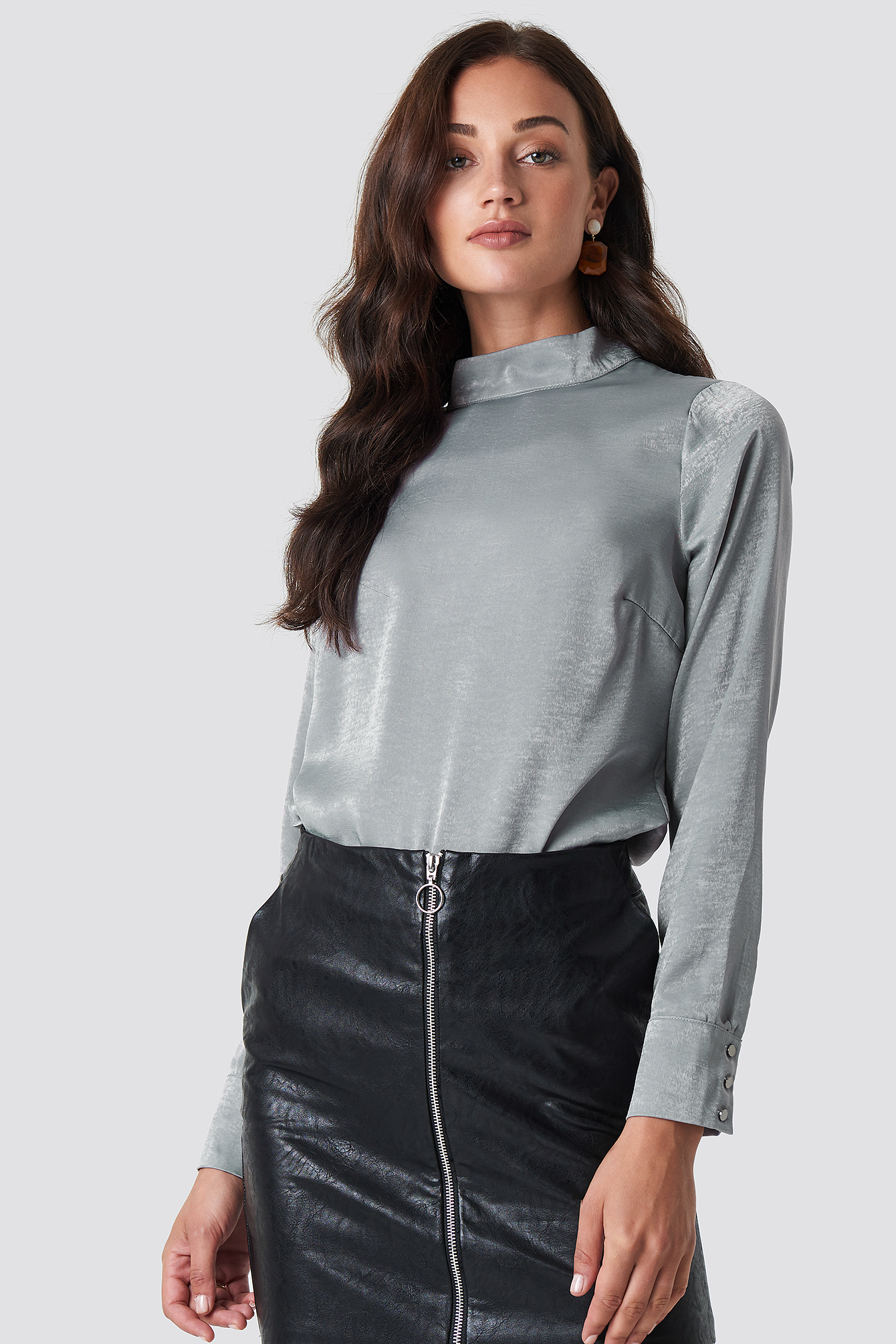 Grey High Neck Blouse