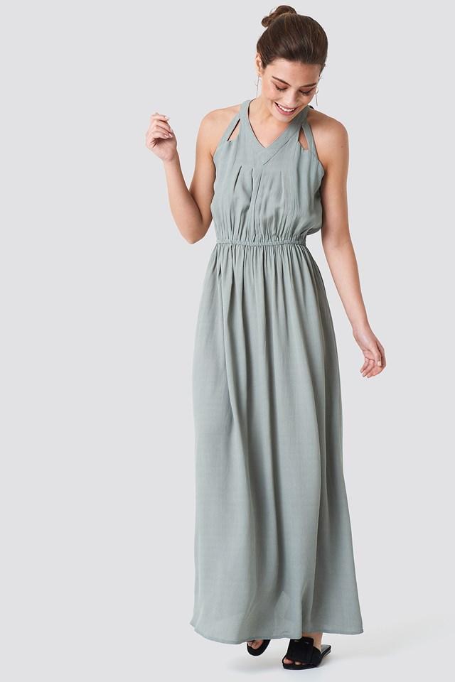Hip Long Dress Green Stone