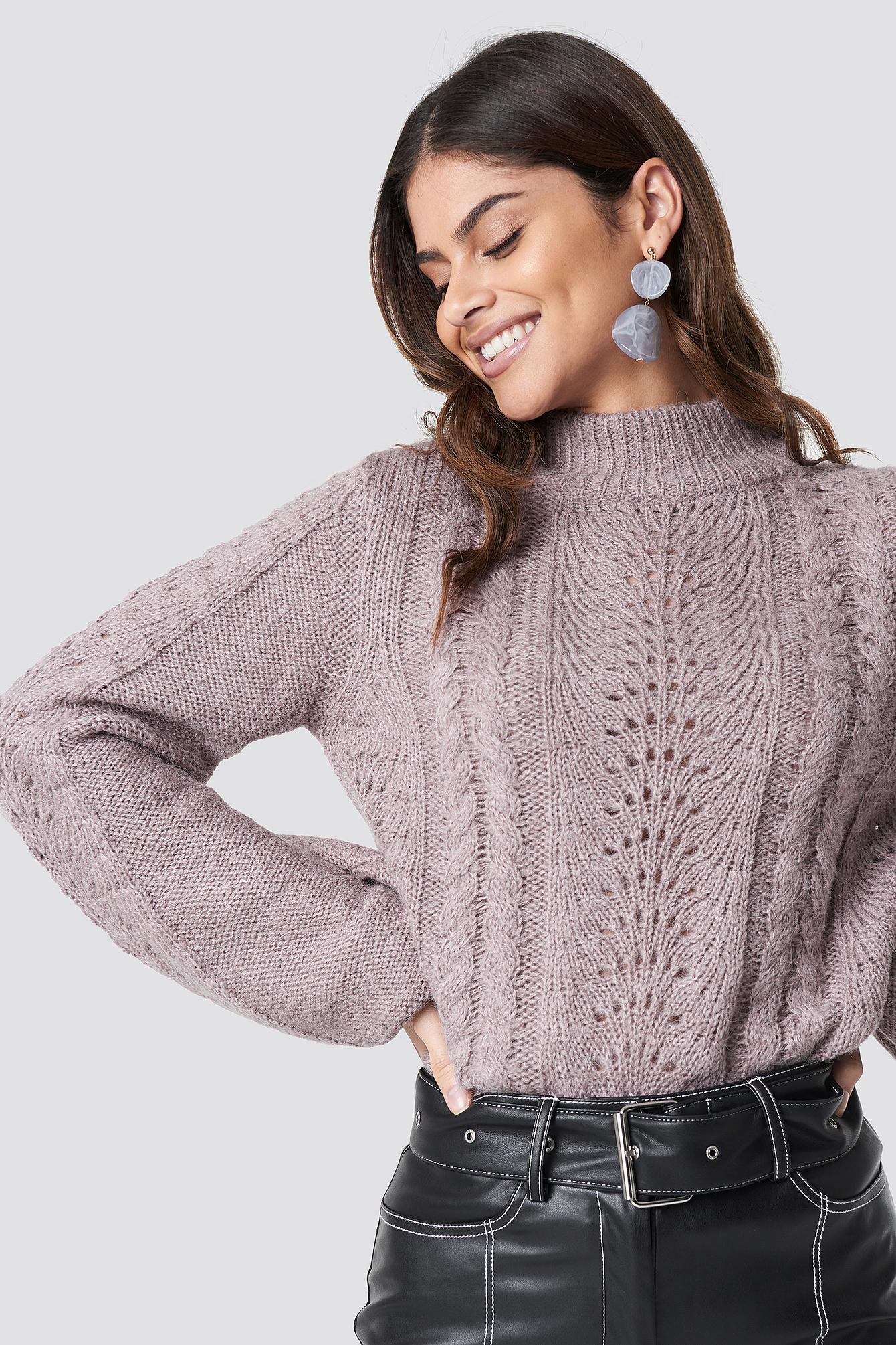 rut&circle -  Hole Knit Pullover - Purple