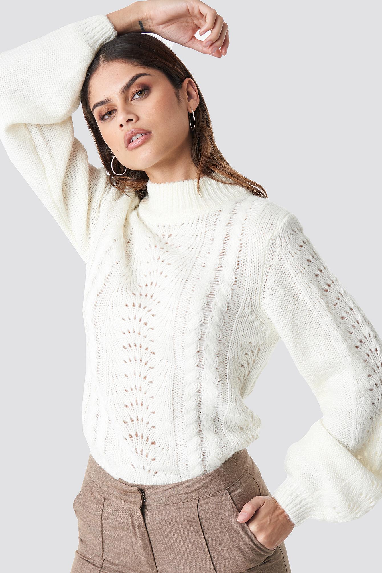 rut&circle -  Hole Knit Pullover - White