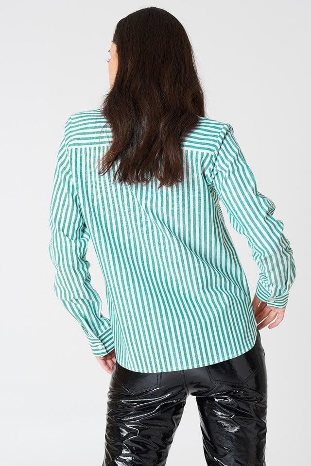 Koszula w paski Ina Green/Creme Striped