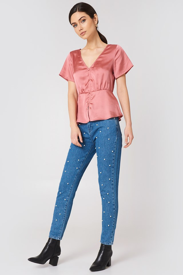 Ines Front Button Blouse NA-KD.COM