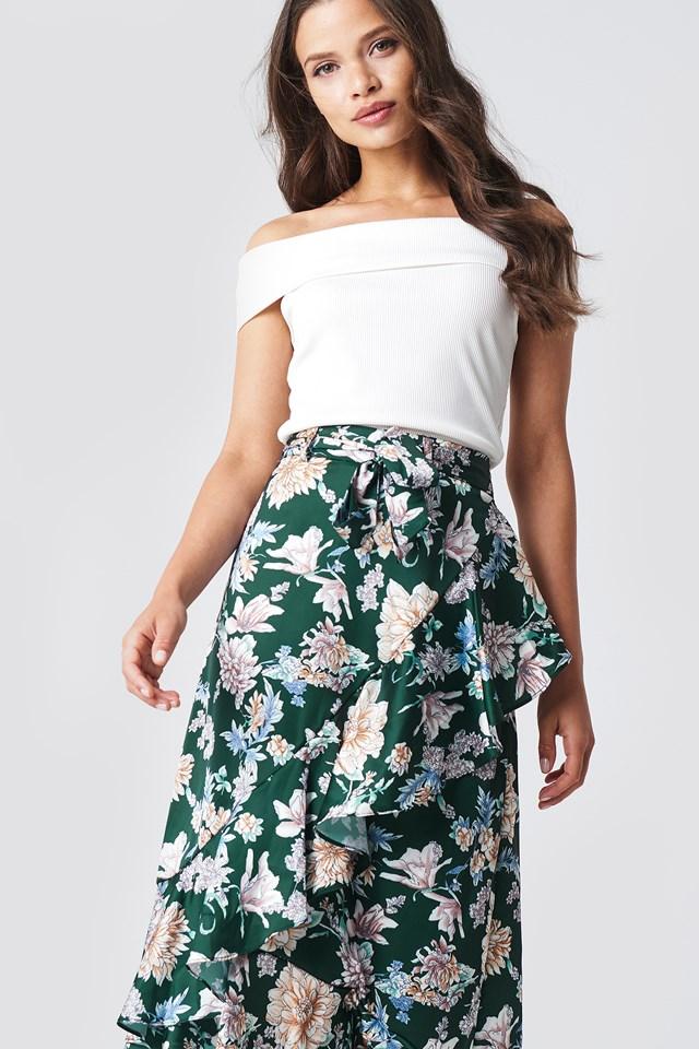 Isa Flower Frill Skirt Green Flower