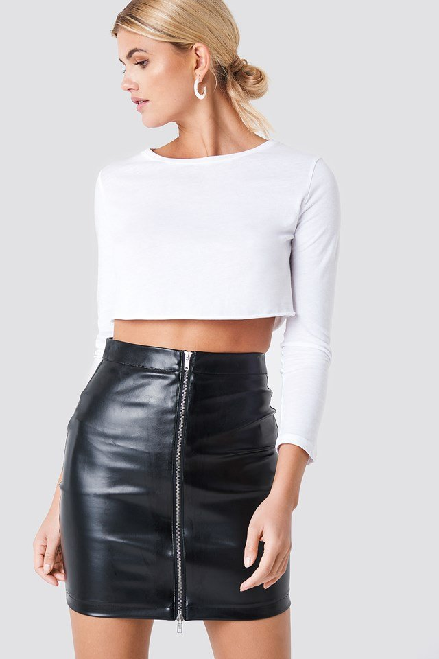 Kelly PU Zip Skirt Black