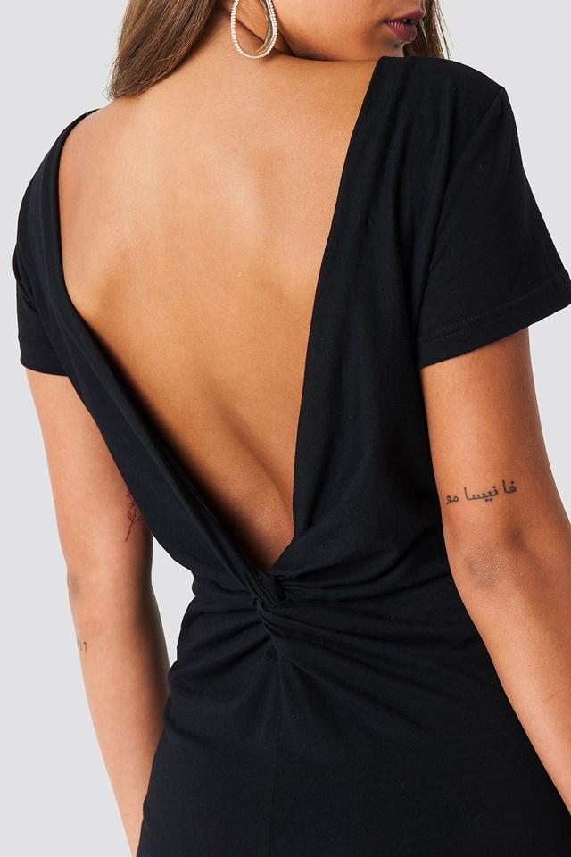 Knot Back Dress Black