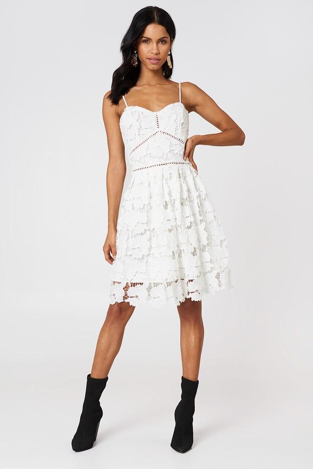 Lace Strap Dress White