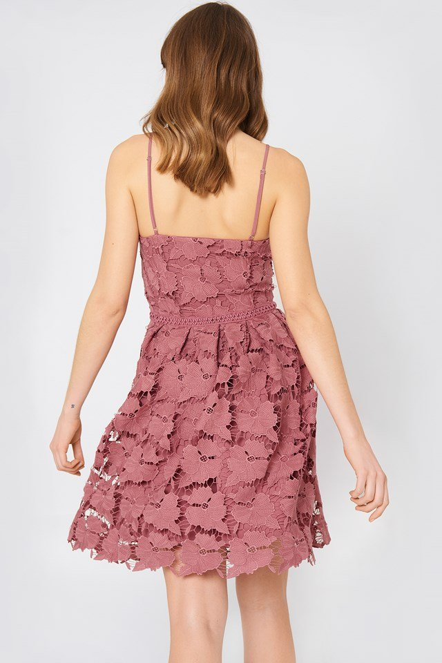 Lace Strap Dress Rose Pink