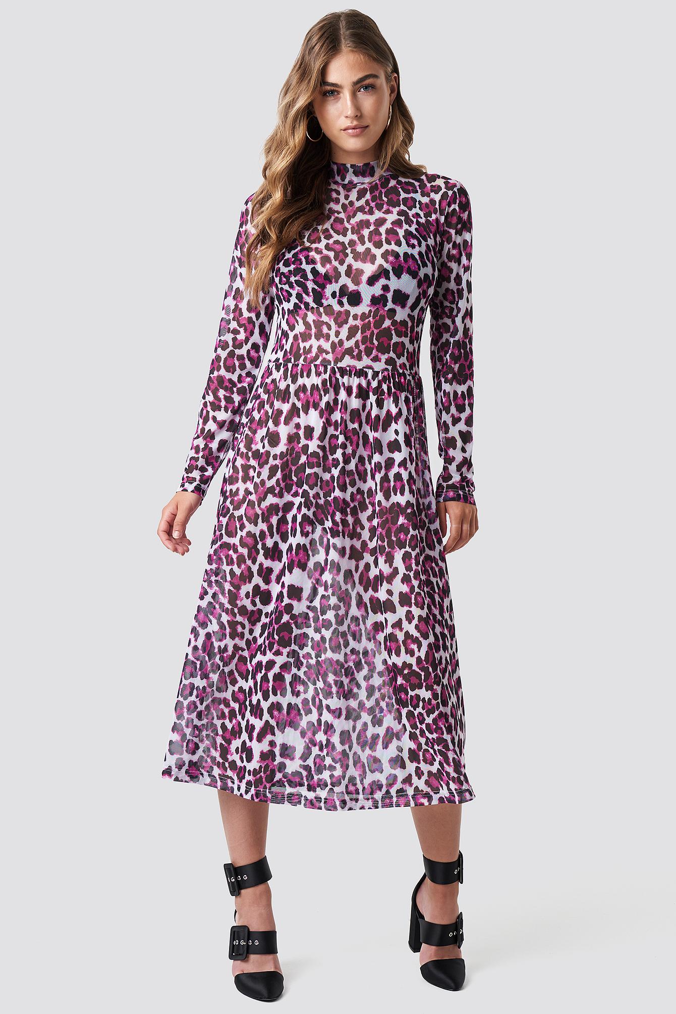 RUT & CIRCLE LEO MESH DRESS - PINK