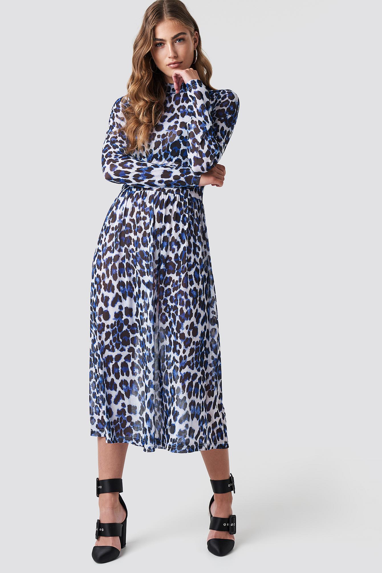 RUT & CIRCLE LEO MESH DRESS - BLUE