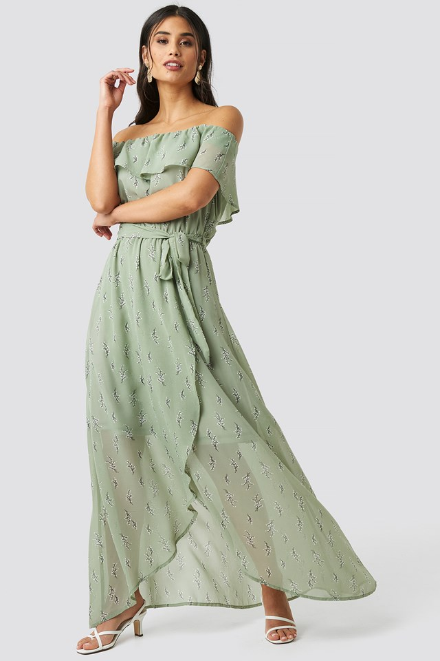 Lilly Long Dress Green Comb