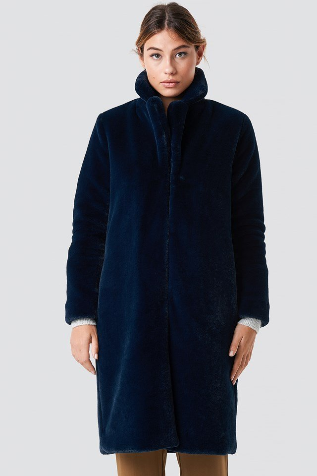 Long Faux Fur Coat DK Navy