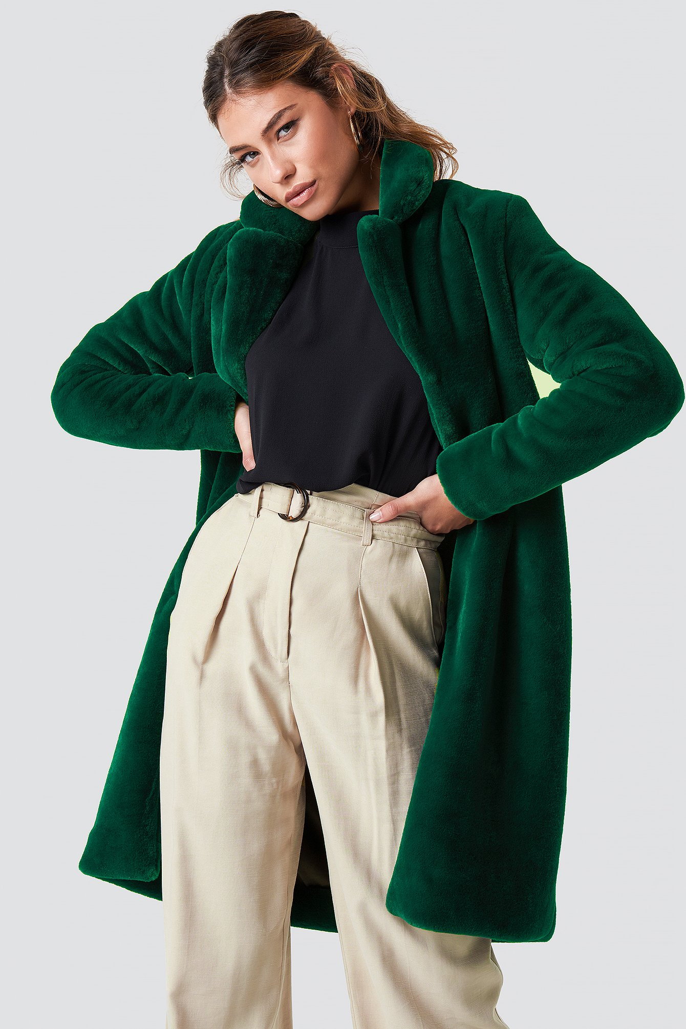 rut&circle -  Long Faux Fur Coat - Green