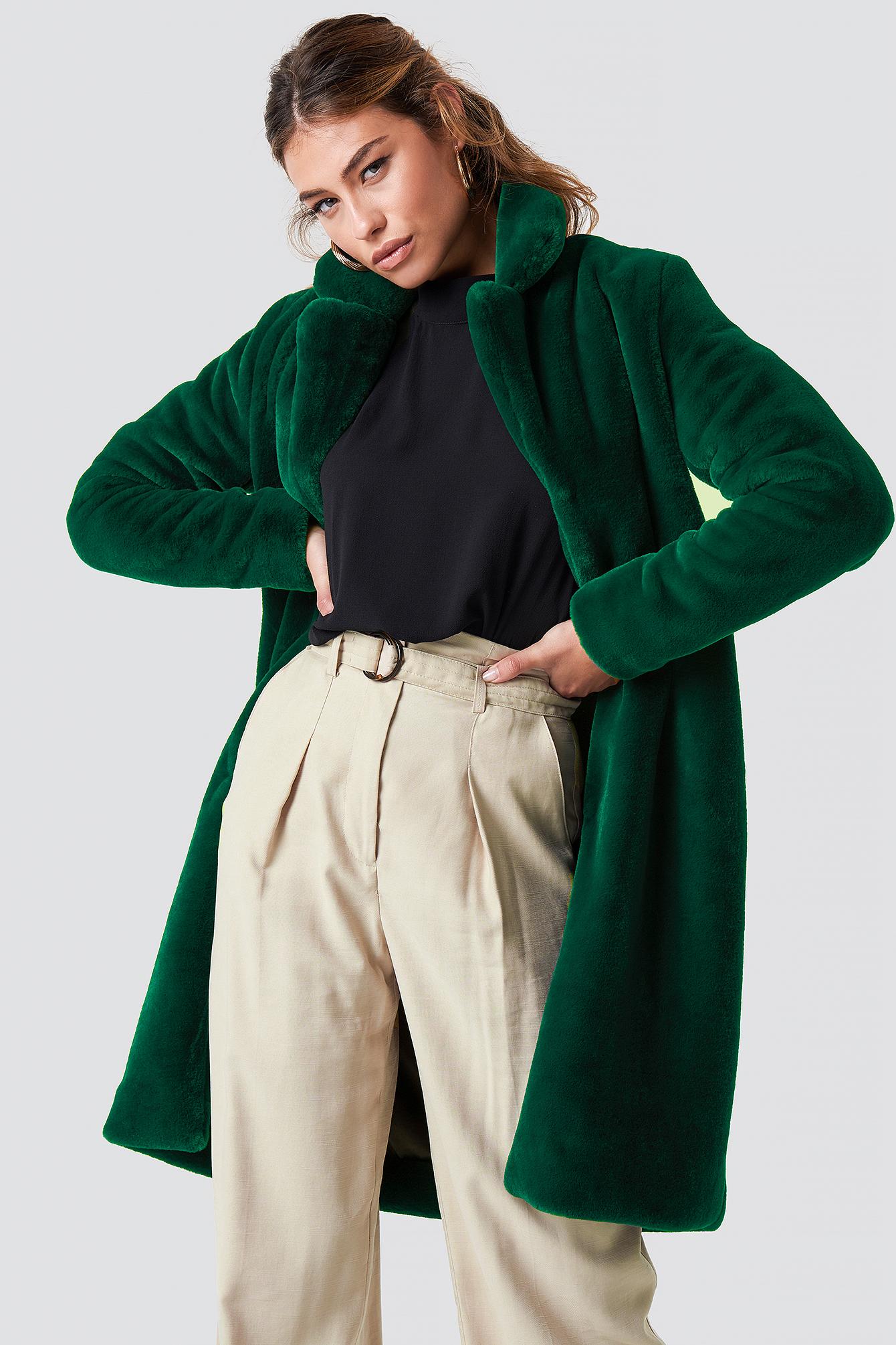 rut&circle -  Long Faux Fur Coat - Green