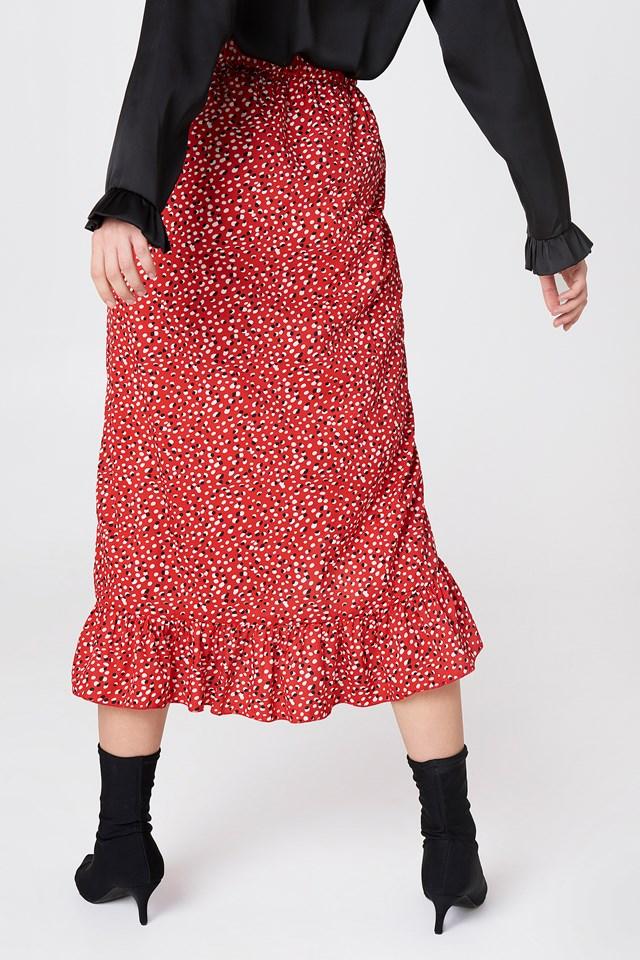 Long Frill Skirt Red Combo