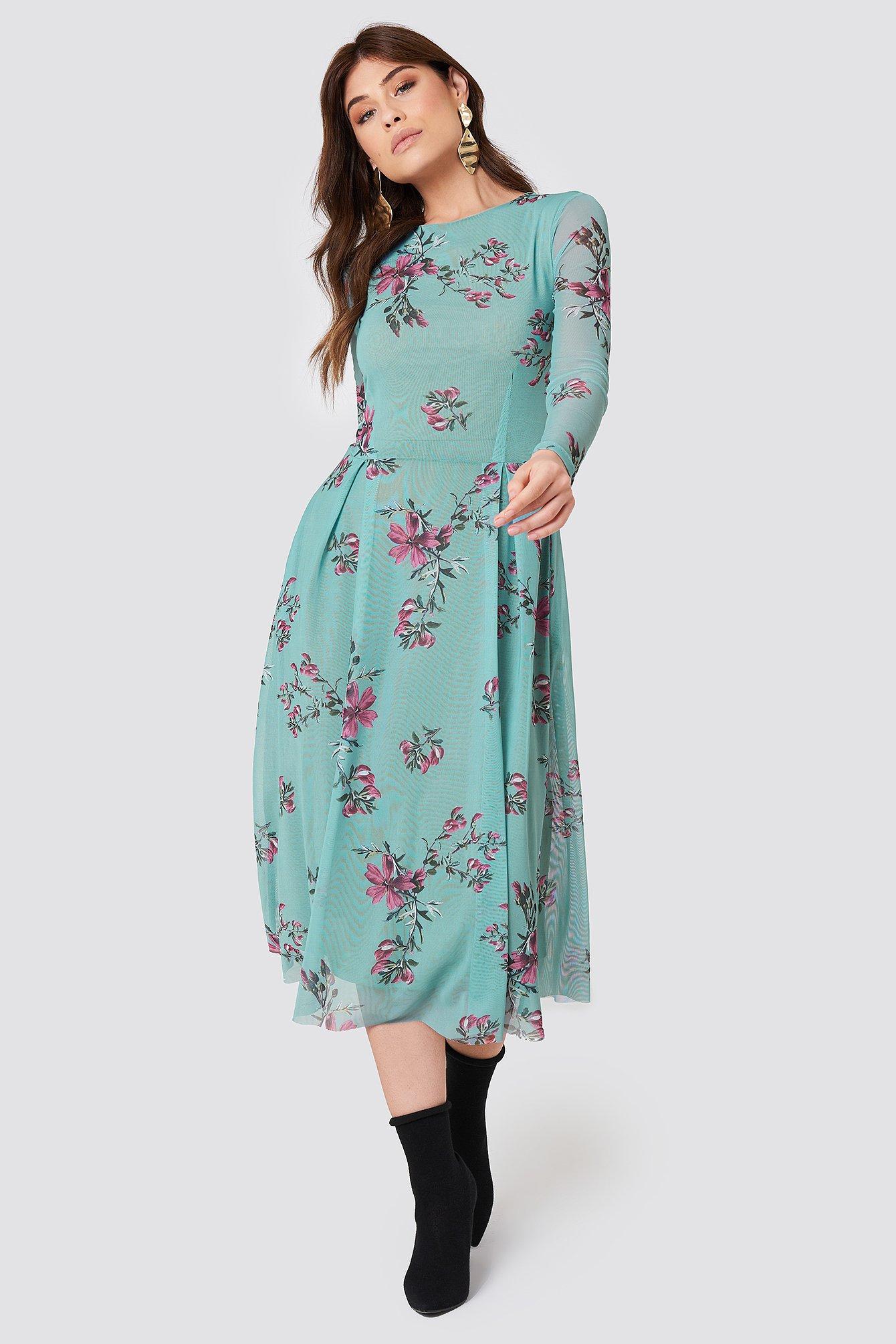 rut&circle -  Long Sleeve Mesh Dress - Multicolor