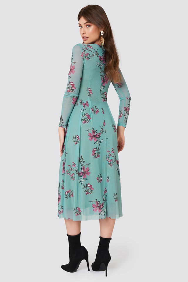 Long Sleeve Mesh Dress Green