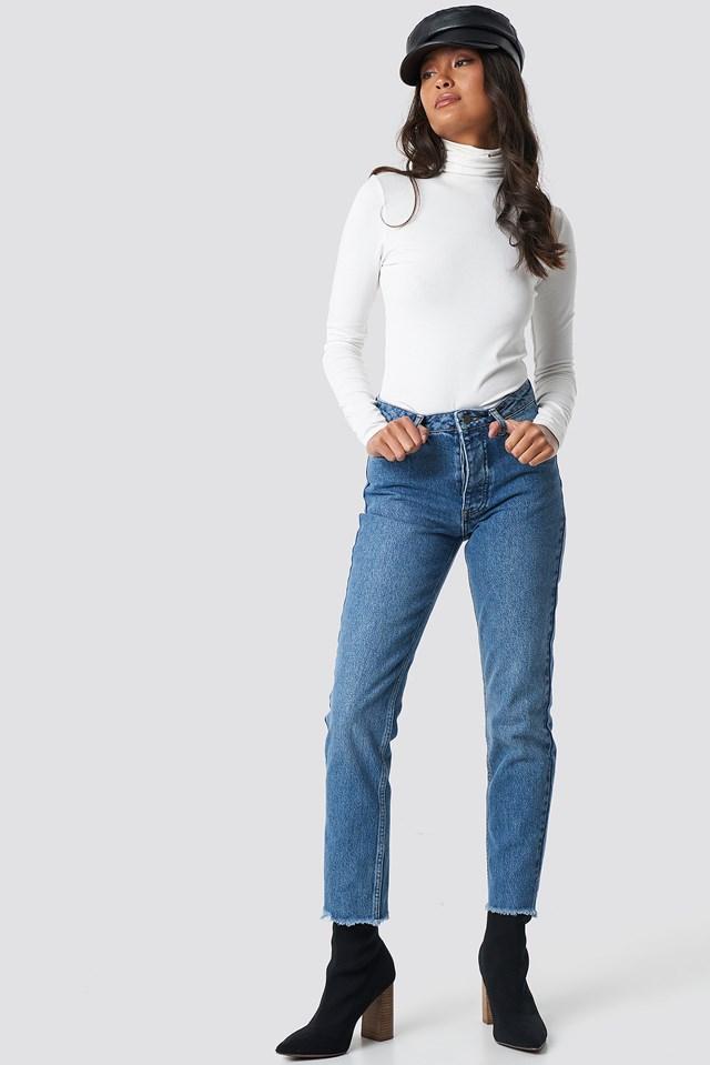 Louisa Raw Hem Jeans Mid Blue