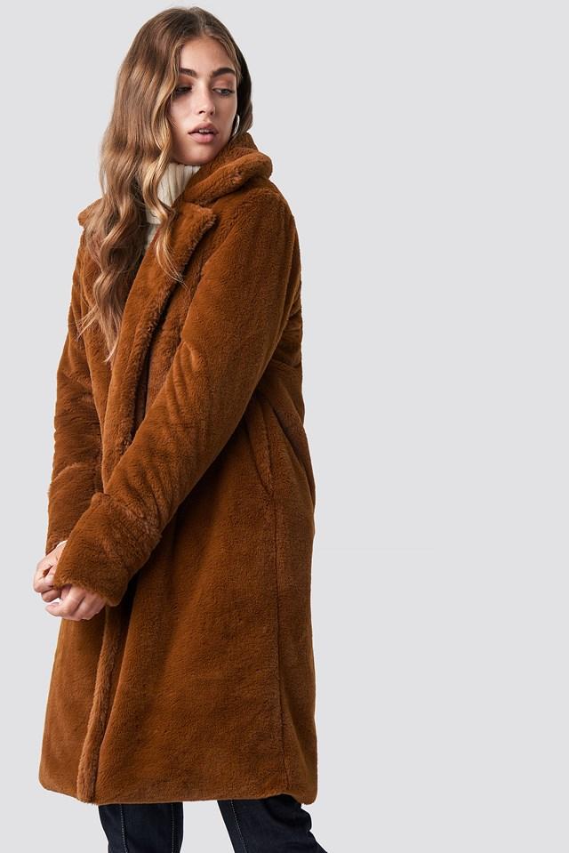 Luna Fold Sleeve Coat Cognac