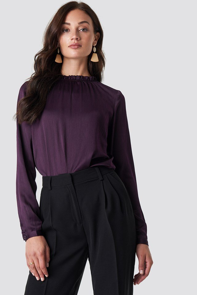 Maci Frill Neck Blouse Dark Purple