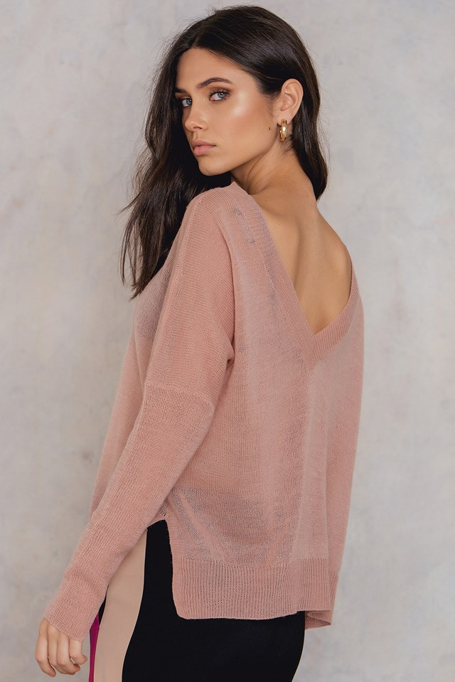 Mandala v-neck knit Dusty Pink