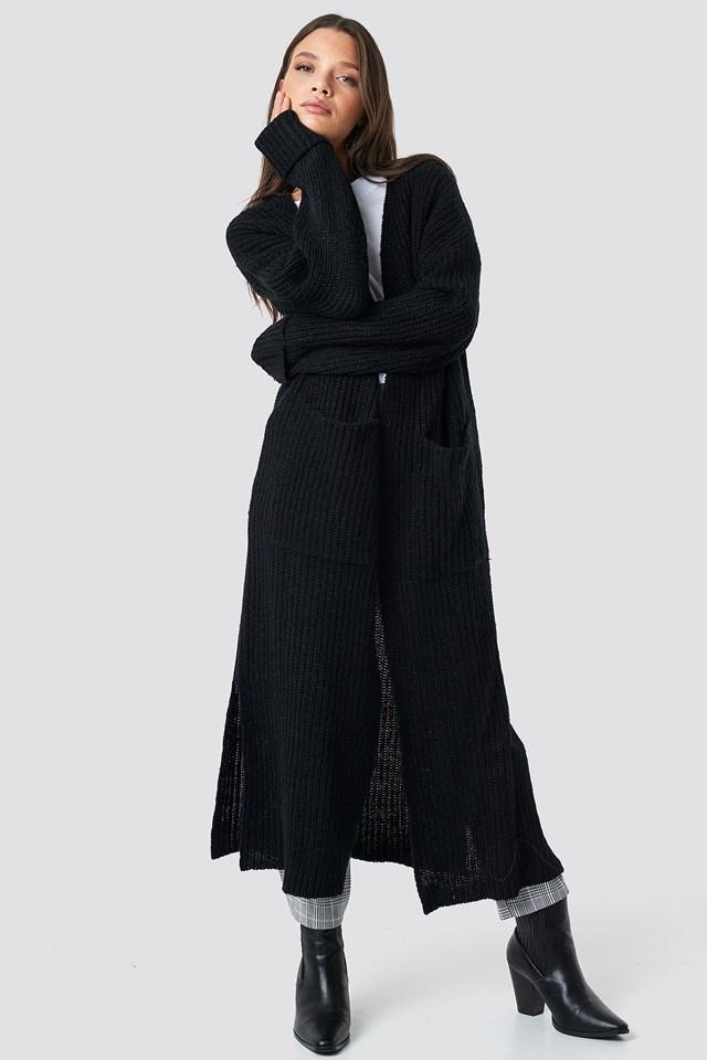 Maxi Long Cardigan Black