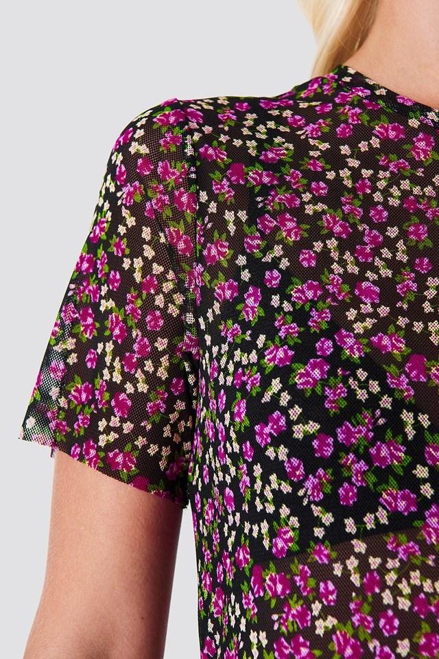 Flower Mesh SS Dress Pink