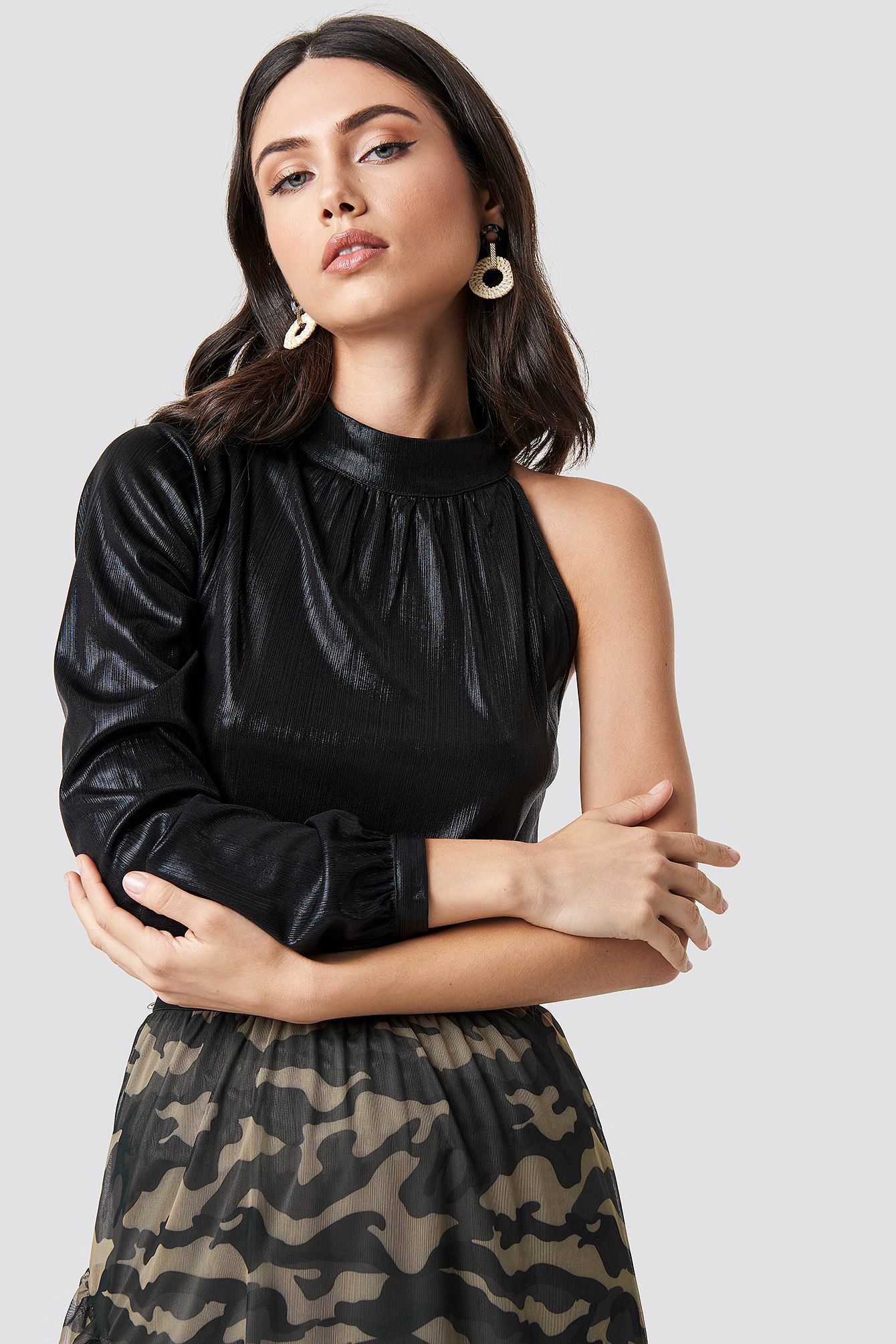 Metallic One Shoulder Top NA-KD.COM