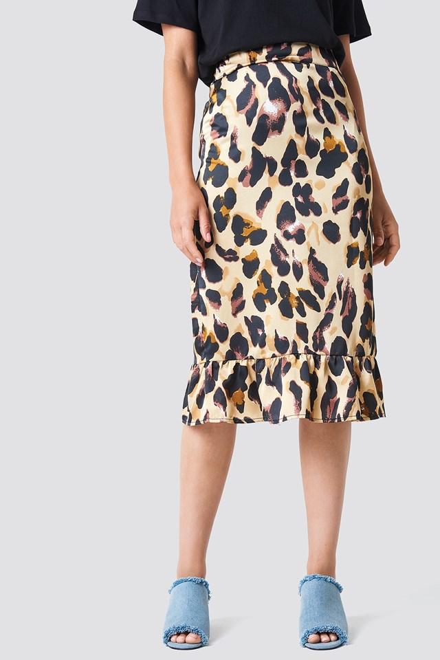 Frill Midi Skirt Leopard
