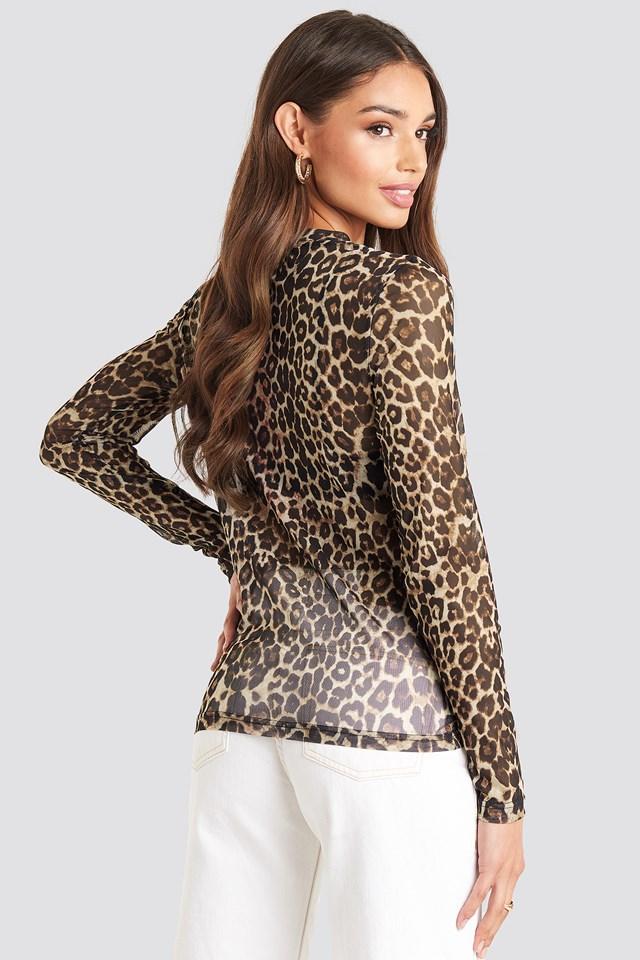 Mila Mesh Top Leopard Print