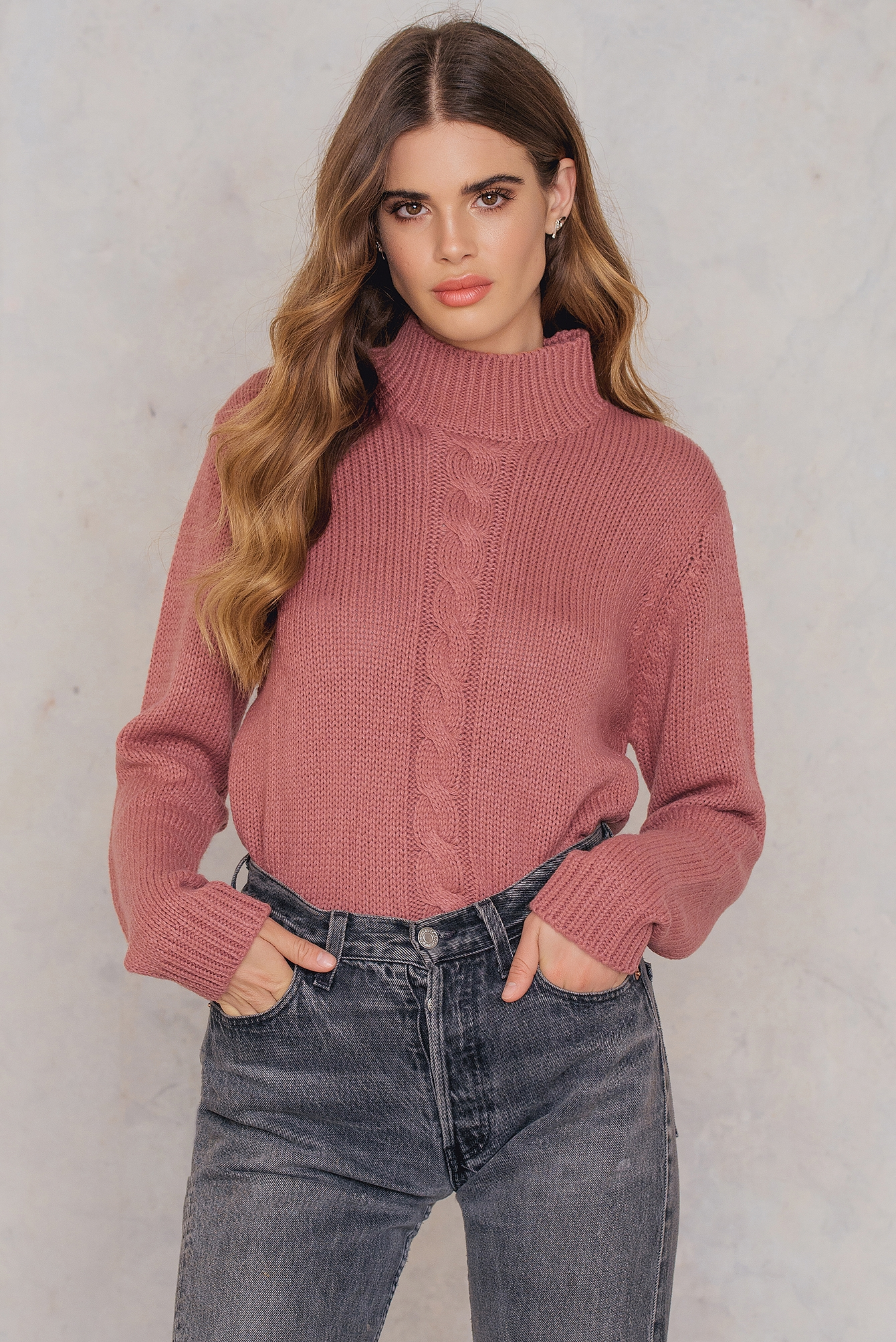 Canyon Pink Mira polo cable knit
