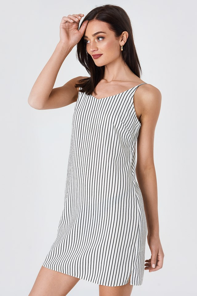 Mira Stripe Dress White/Black