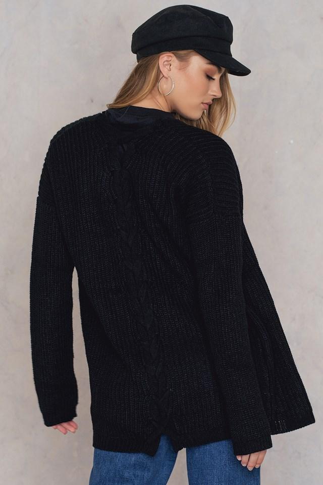 Nana back lace-up cardigan Black
