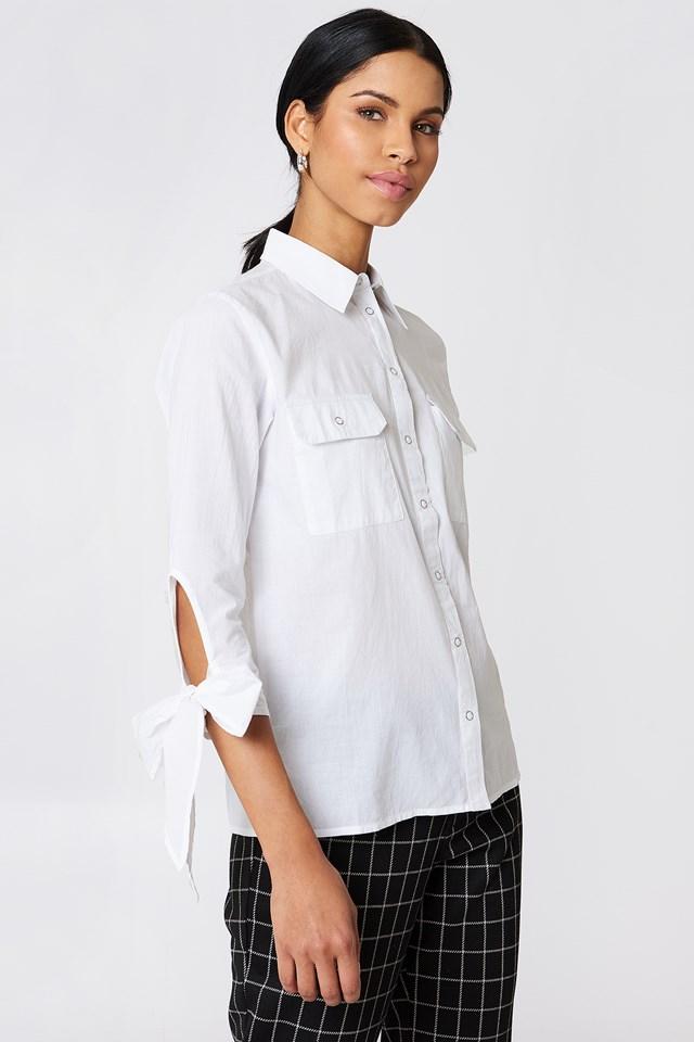 Nicole Pocket Shirt White