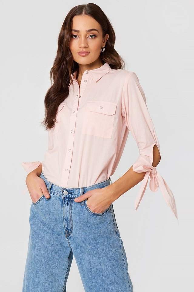 Nicole Pocket Shirt Pastel Pink