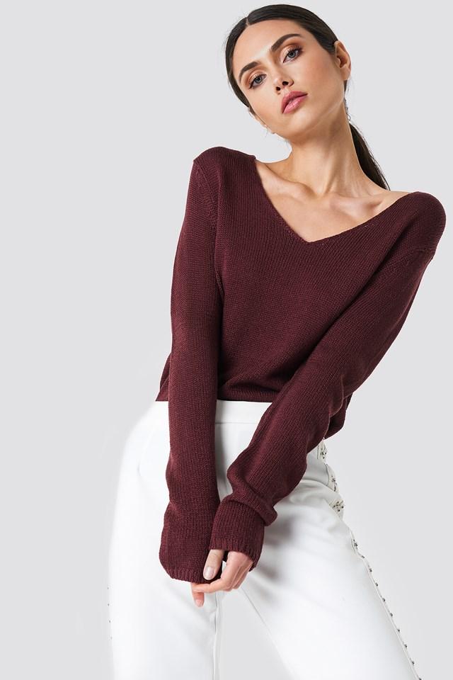 Ninni V-neck Knit Wine Red