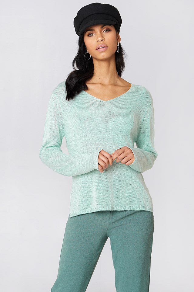 Ninni V-neck Knit Duck Green