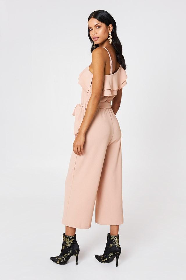Ofelia One Shoulder Jumpsuit Pastel Pink