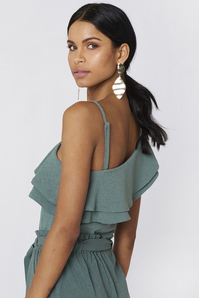 Ofelia One Shoulder Top Duck Green