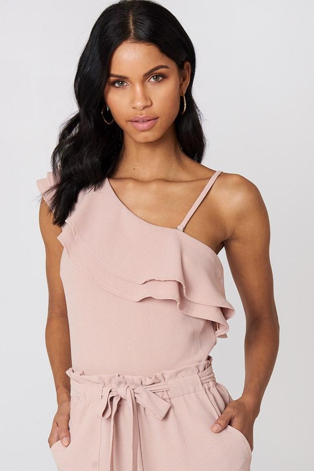 Ofelia One Shoulder Top Pastel Pink