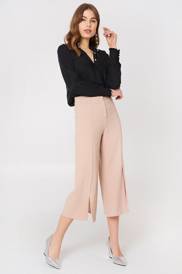 Ofelia Pant With Slit Pastel Pink