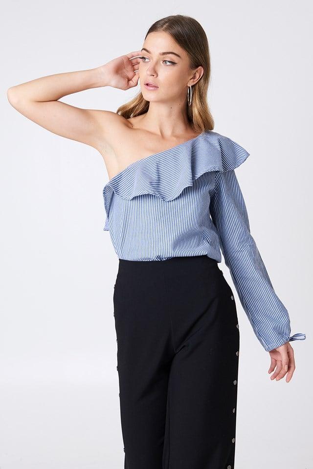 One Shoulder Frill Blouse Blue/White