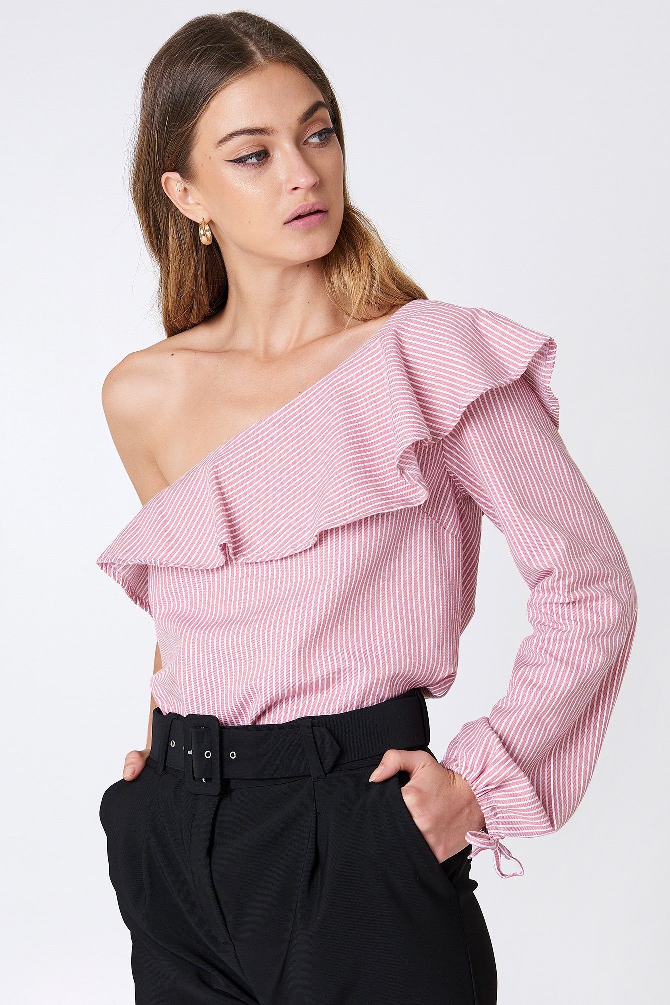 One Shoulder Frill Blouse