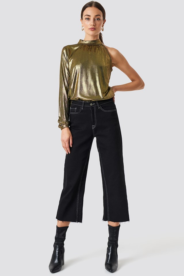 Metallic One Shoulder Top Gold
